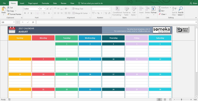 Excel Calendar Template 2019   Free Printable Calendar