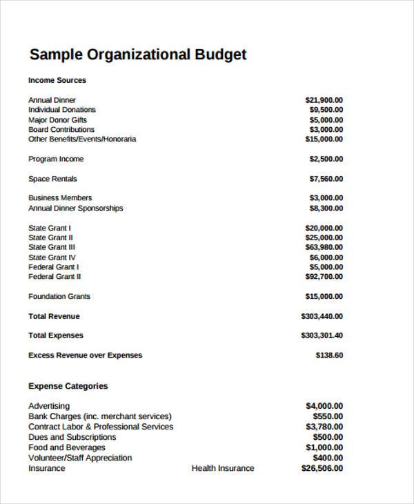 12+ Non Profit Budget Templates   Word, PDF, Excel, Google Docs