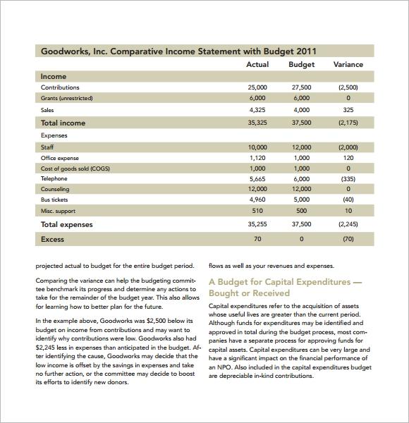 nonprofit budget template excel   Koman.mouldings.co