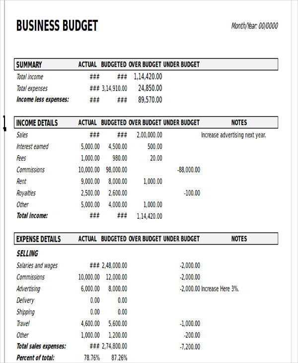 12+ Business Budget Templates in Excel, Word, PDF   Free & Premium