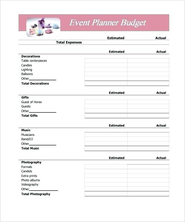 Simple Event Planner Budget Template How To Make A Plan Music