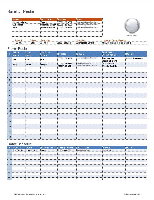 Baseball Budget Template | camisonline.net
