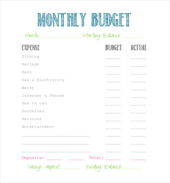 simple budget form   Sazak.mouldings.co