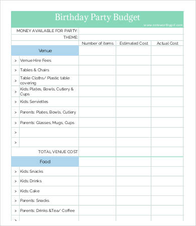 Party Budget Template   11+ Free Word, PDF Documents Download
