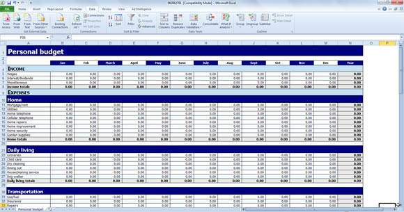 Free Personal Budget Template for Excel