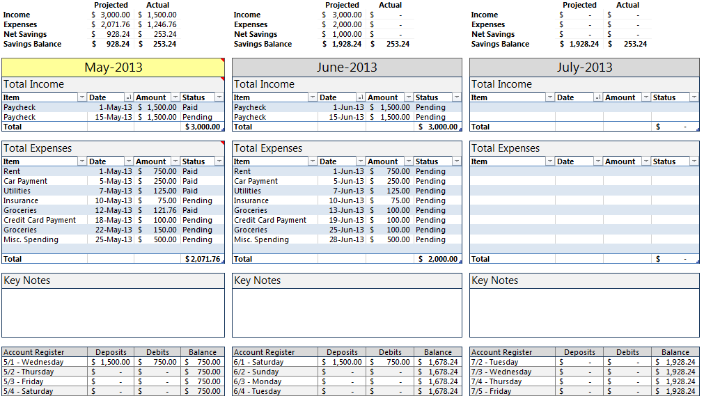 Free College Budget Template for Excel 2013