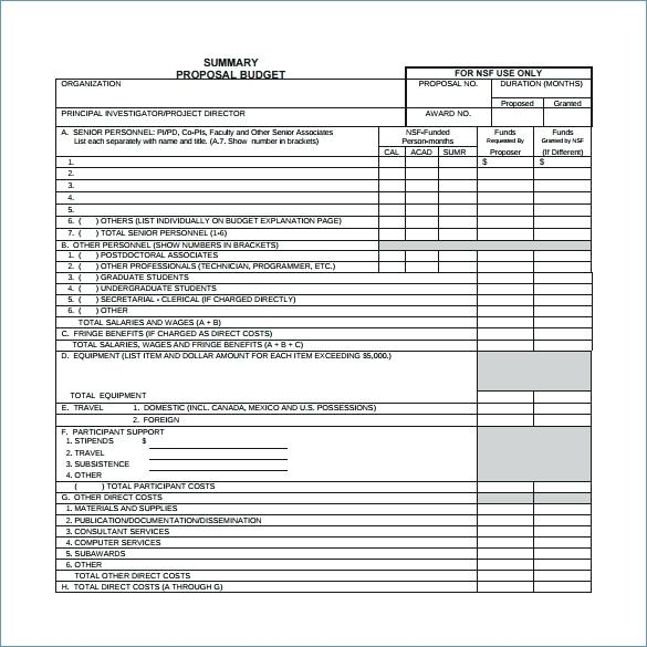 Excel Project Budget Template Grant Proposal Budget Template Excel