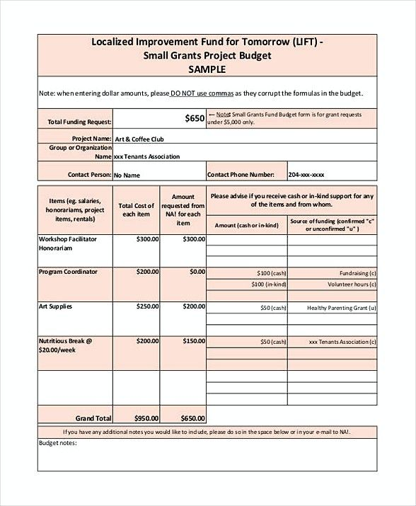 Small Grant Budget Template , Grant Budget Template , Grant Budget