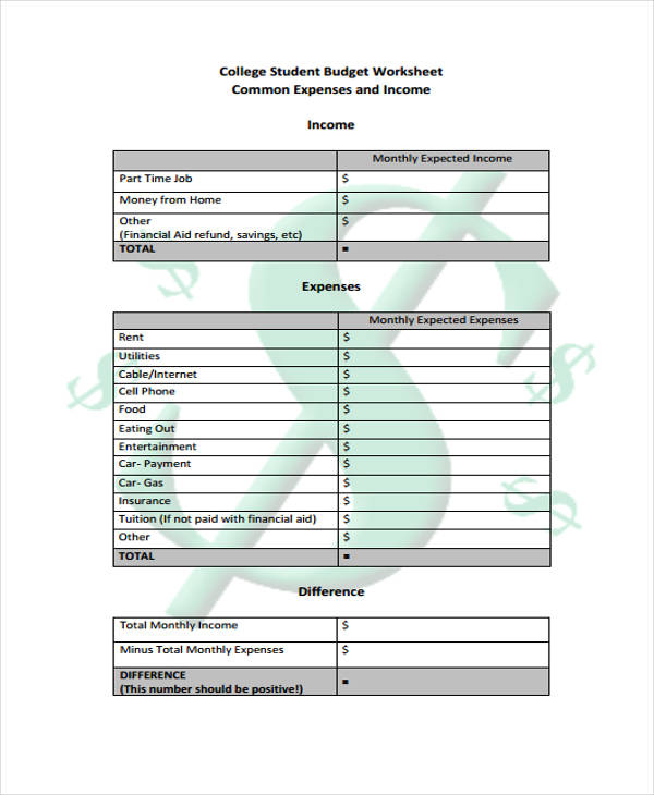 11+ Student Budget Templates   Free Sample, Example, Format