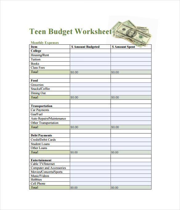 Teen Budget SpreadsheetPDF Template 1 1 , Spreadsheet Template