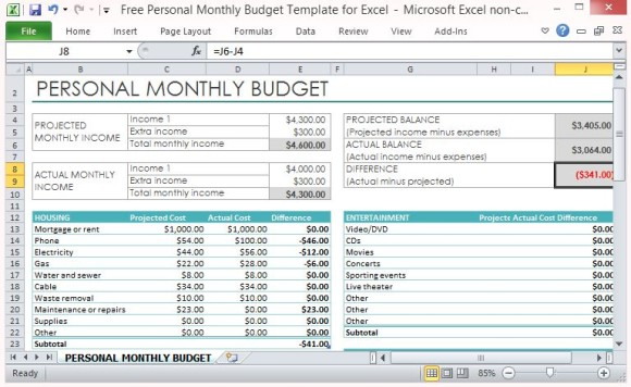 Budget Template Free Excel | Template Creator