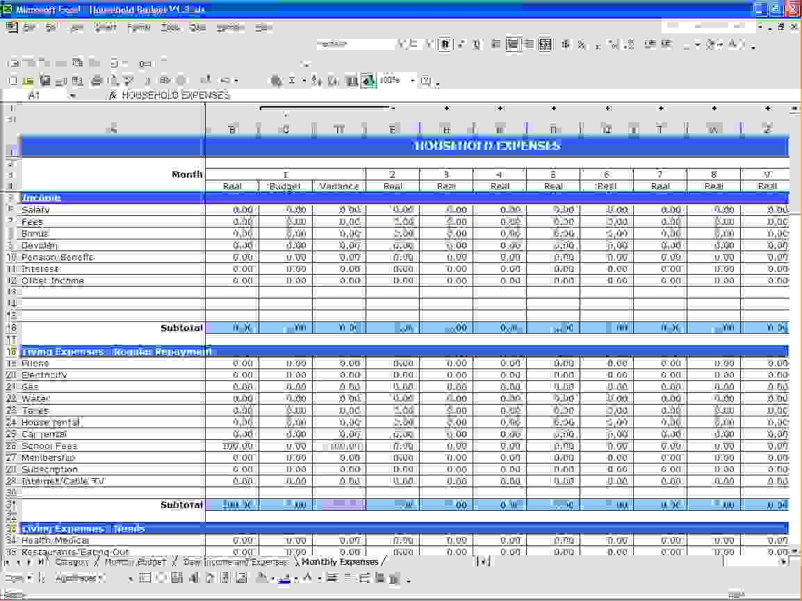 Family Budget Template Microsoft Spreadsheet Free Templates In