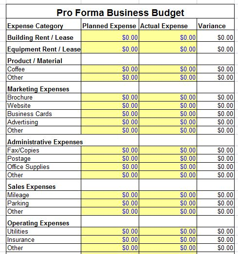 Pro Forma Business Budget Templates | E Tobacco