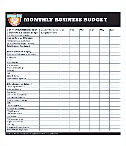 Business Monthly Budget Template , Business Budget Template for