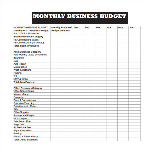 business monthly budget template   Sazak.mouldings.co