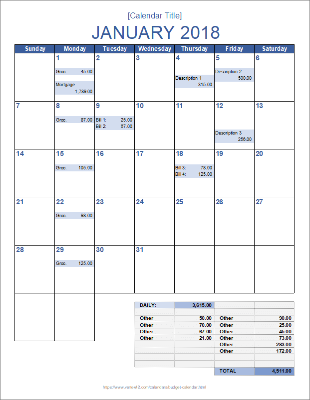 Monthly Budget Calendar Template