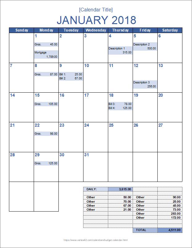 Monthly Budget Calendar Template