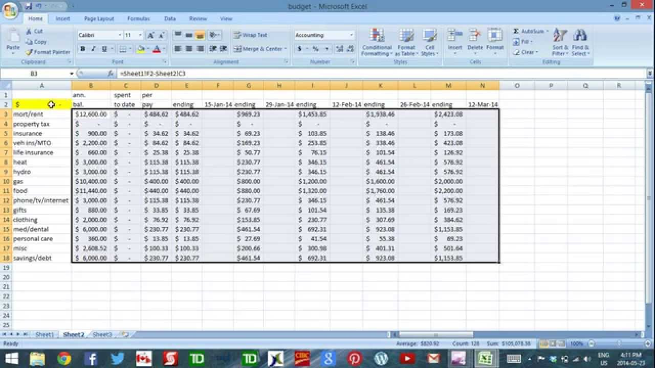 Using Excel to budget   part 4   cash flow template   YouTube