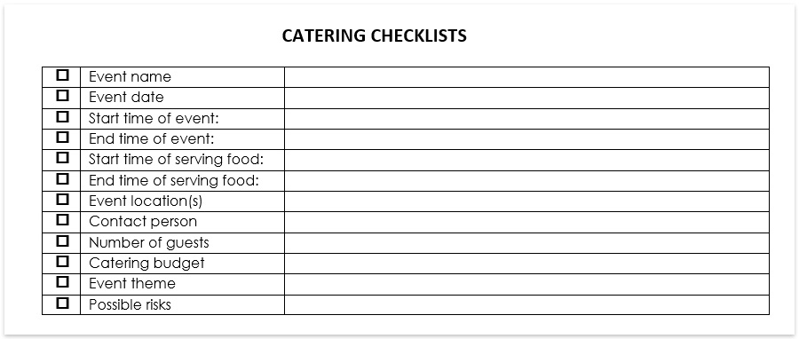 Catering Spreadsheet Template Standard Catering Contract