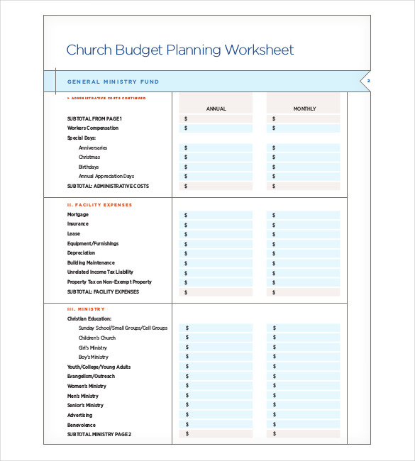 20+ Church Budget Templates   Word, PDF, Excel, Apple Pages