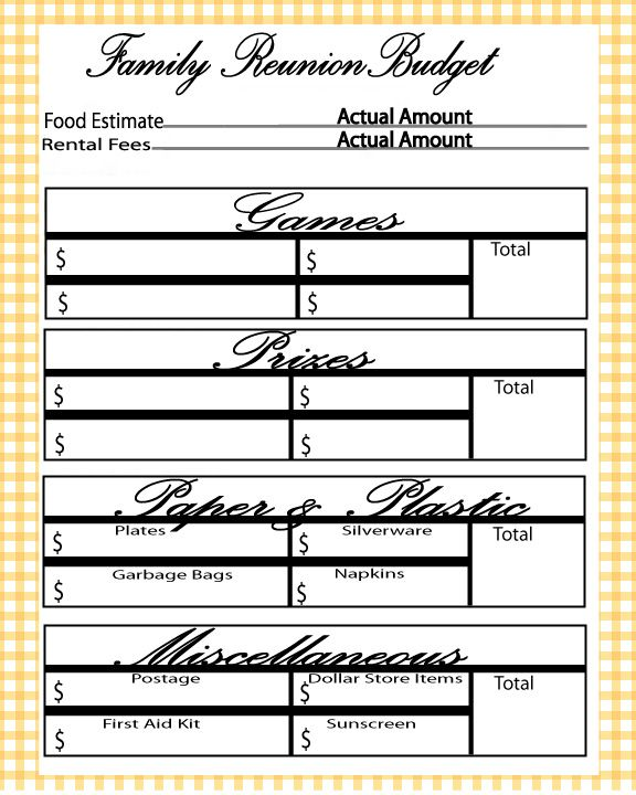 Free printable family reunion budget planner   Let's Get Crafty