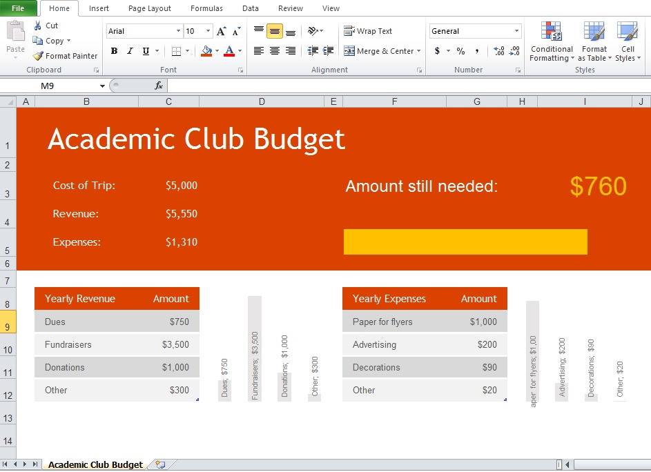 Club Budget Excel Template Academic Club Budget Management