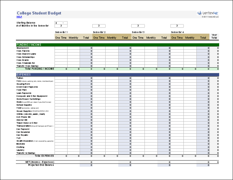 Free College Student Budget Worksheet