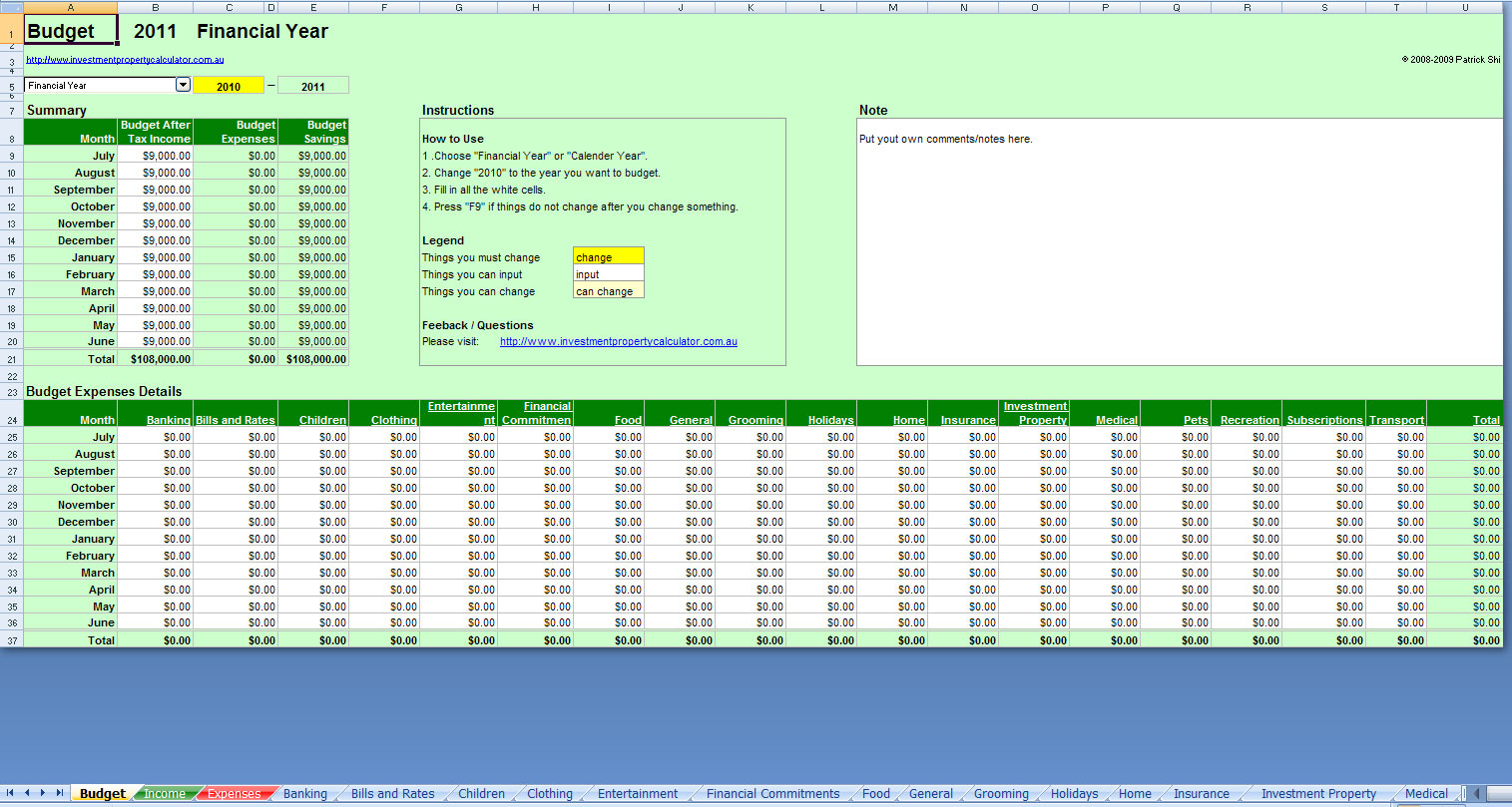 Planner Format For Excel Free Comprehensive Budget Spreadsheet