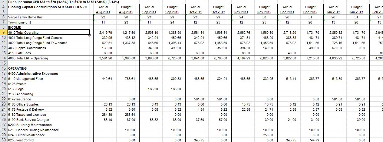 condo association budget template hoa accounting spreadsheet on