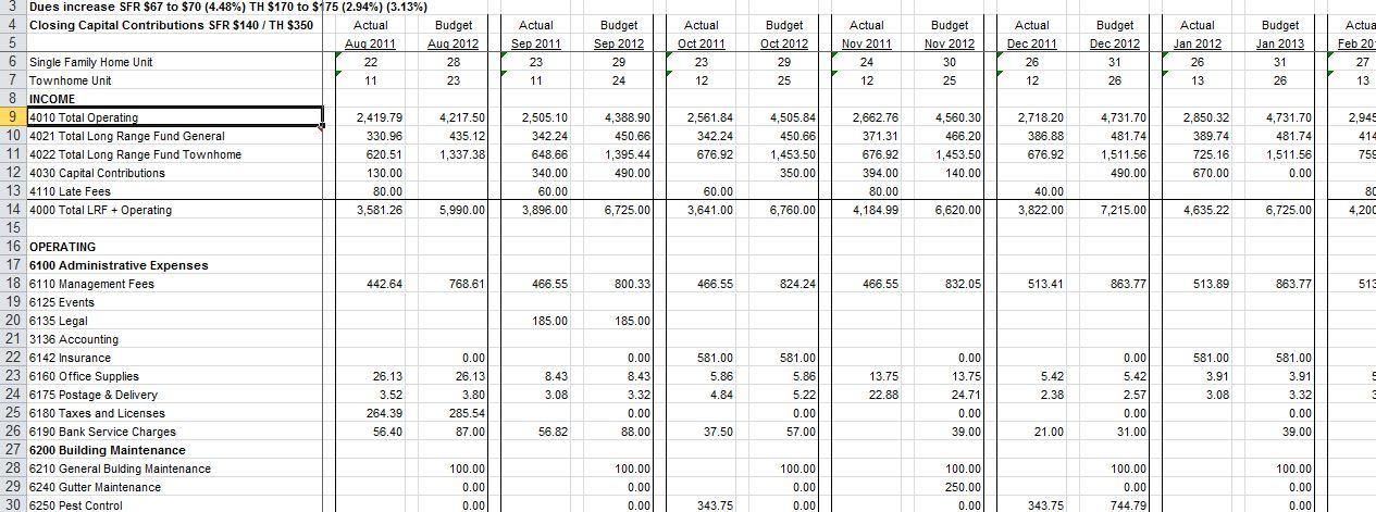 condo association budget template hoa accounting spreadsheet on