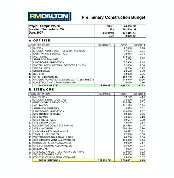 construction budget spreadsheet , 9 Construction Budget Template