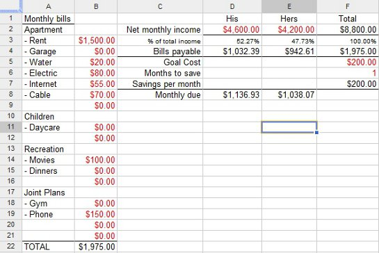Couple's Financial Worksheet