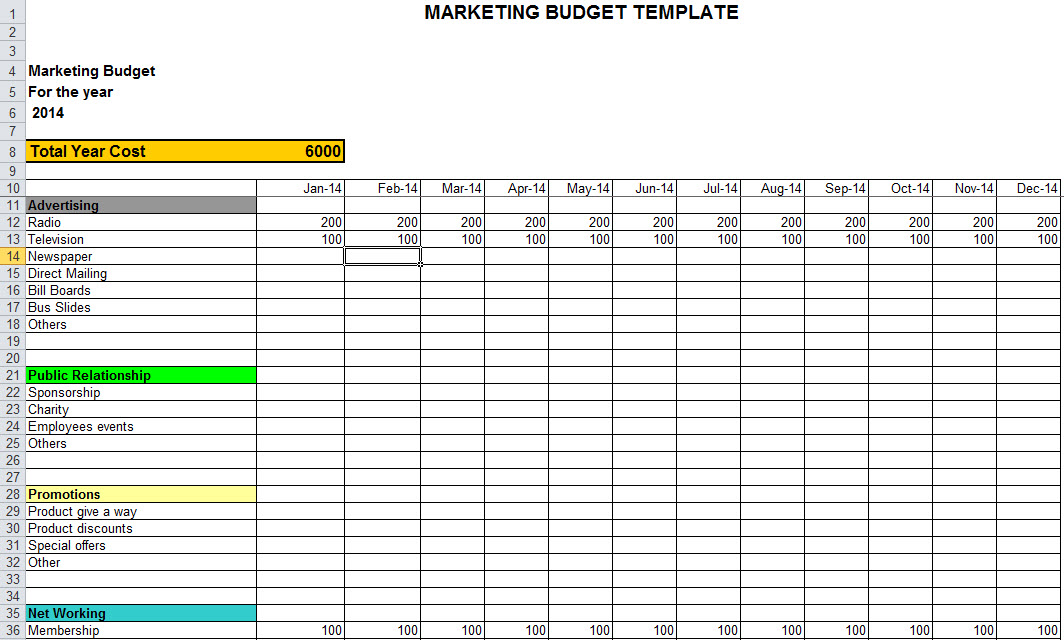 Marketing Budget Template in Excel
