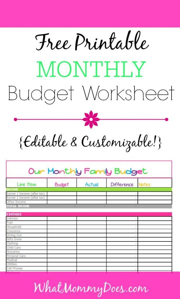Cute Monthly Budget Printable – Free Editable Template | Money