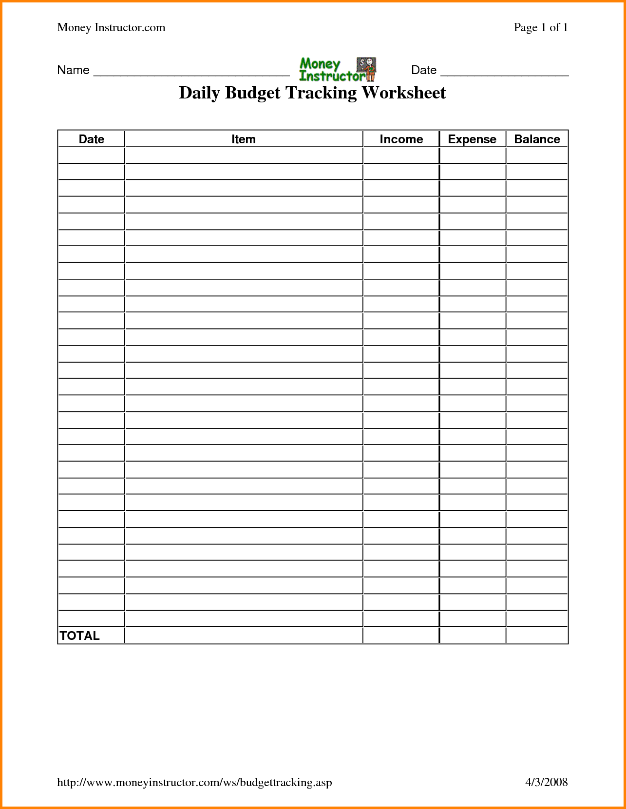 Daily Expenses Budget Readsheet Templates Expense Free Download