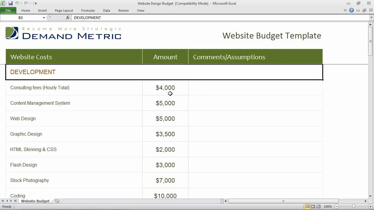 Website Design Budget Template   YouTube