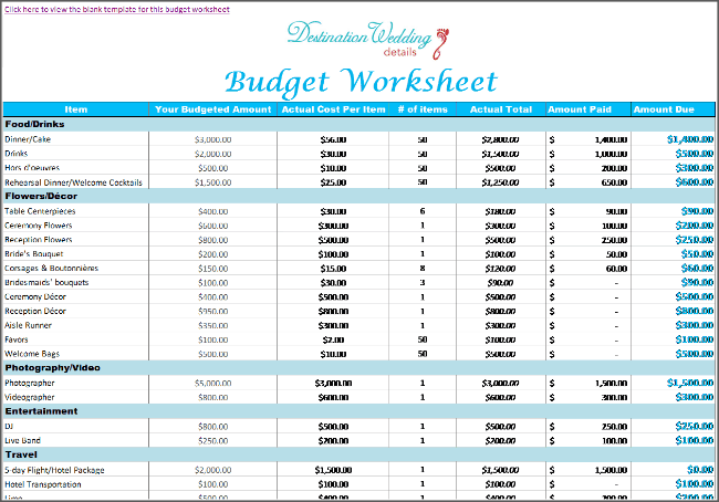 Super Simple Destination Wedding Planning Spreadsheets