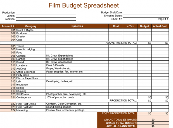 Film Budget Template for Excel®   5+ Spreadsheets