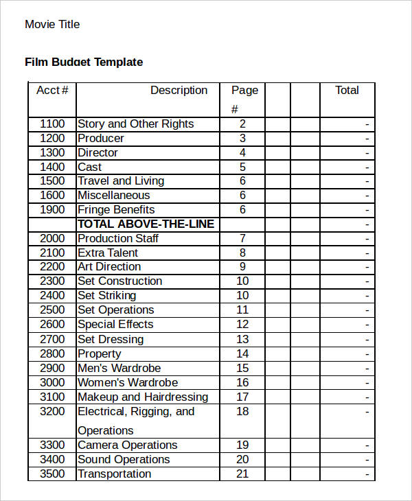 Film Budget Templates   7+ Free Word, PDF & Excel Format Download