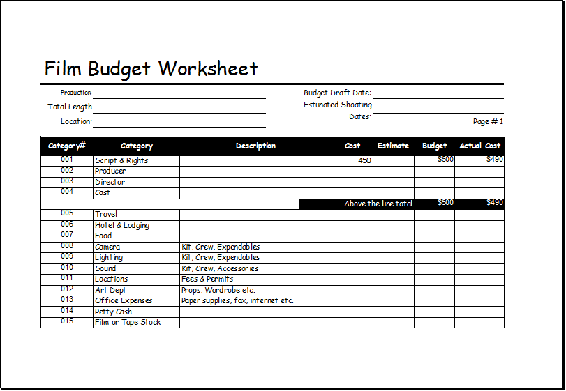 33 Free Film Budget Templates (Excel, Word) ᐅ Template Lab