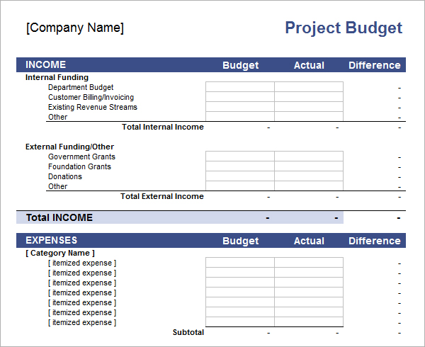 excel project budget templates 2016