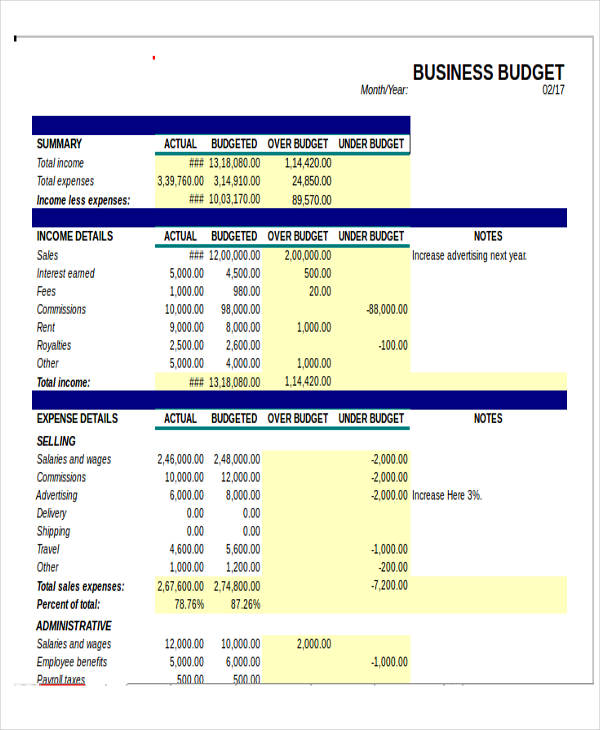 12+ Business Budget Templates in Excel, Word, PDF | Free & Premium