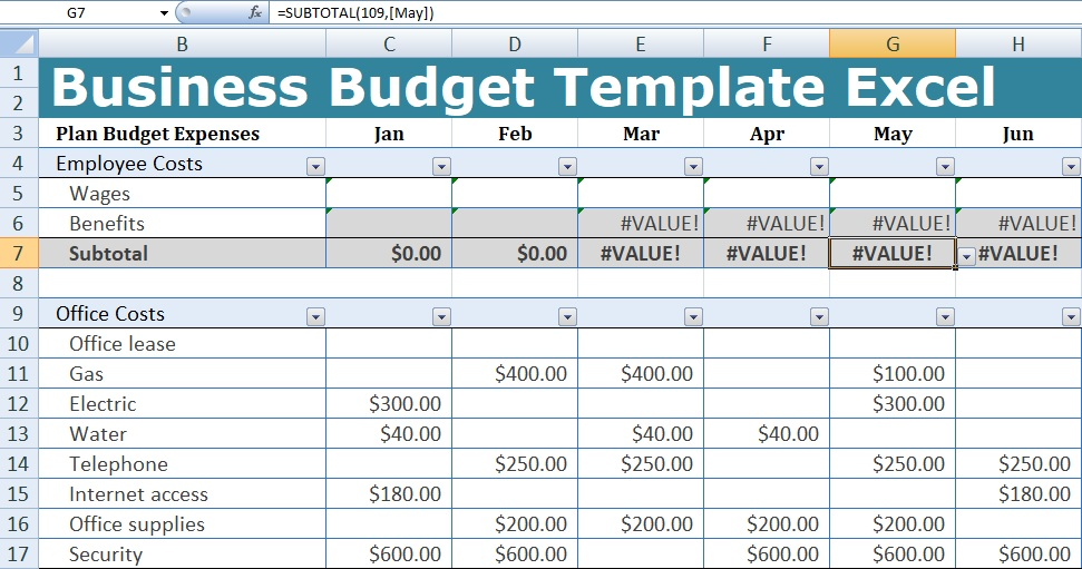 Business Budget Template Excel | XLStemplates