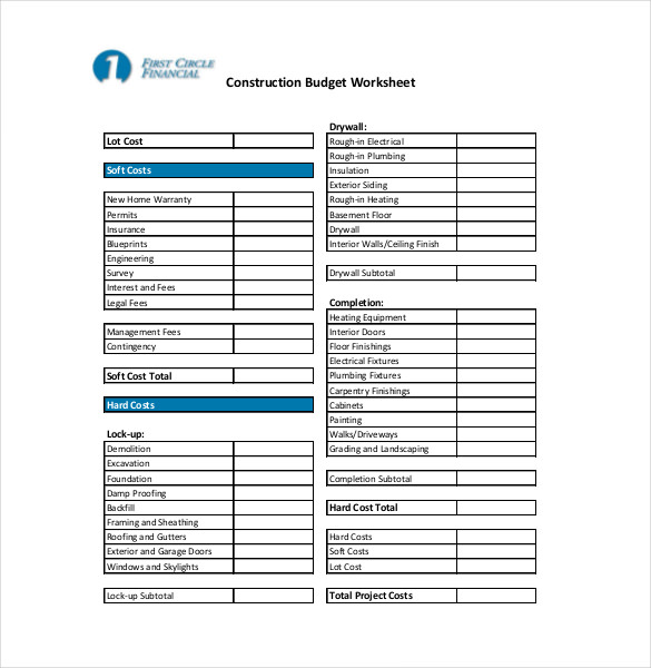 14+ Construction Budget Templates   PDF, Excel, Apple Pages