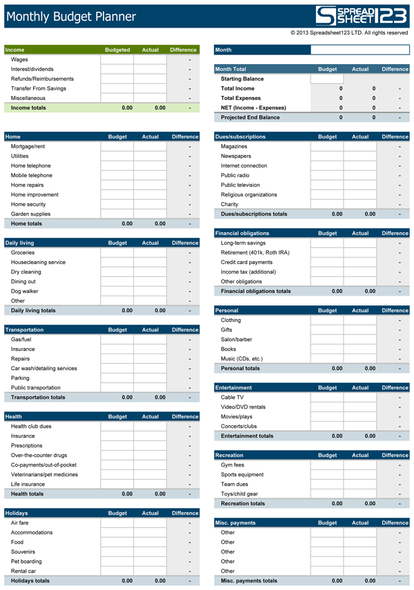 Monthly Budget Planner | Free Budget Spreadsheet for Excel