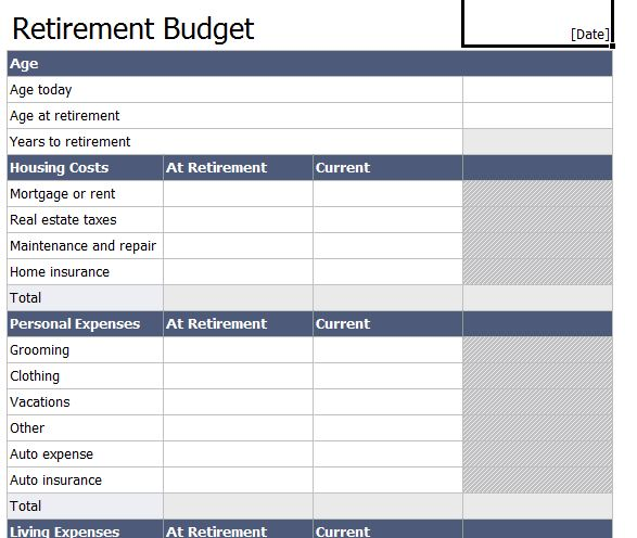 Retirement Budget Worksheet | Retirement Budget Template
