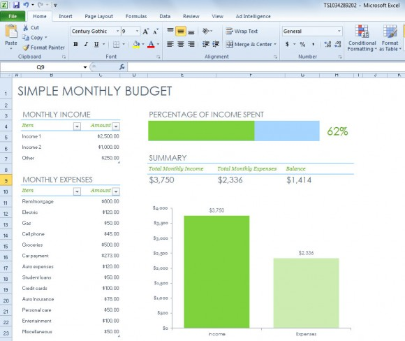 Simple Monthly Budget Spreadsheet for Excel 2013