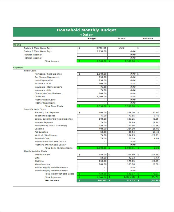 Basic House Hold Monthly Budget Template , Excel Monthly Budget