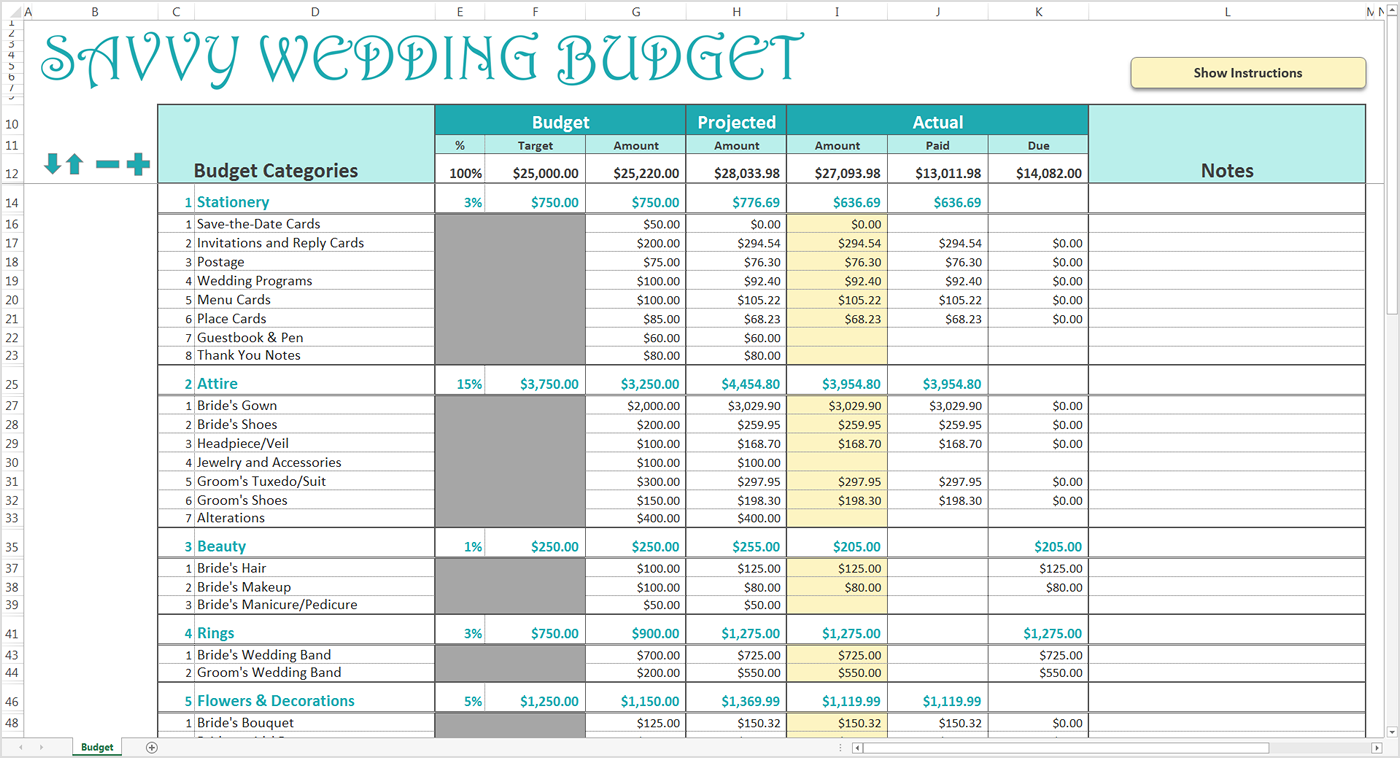 sample wedding budget excel   Sazak.mouldings.co