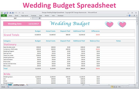 Wedding Budget Spreadsheet Planner Excel Wedding Budget | Etsy